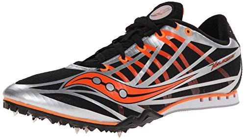Saucony Men's Velocity Track Spike Racing Shoe, Silver/Black/Vizi Orange, 9 M US
