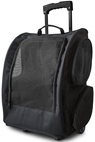 Paws & Pals Rolling Backpack Travel Pet Carrier for Cats Dogs Rabbits and Ferrets (Black)