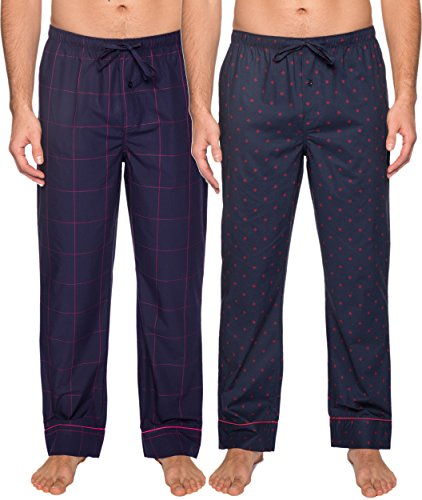 Noble Mount Mens Pajama Pants - Cotton Mens Lounge Pants - Burgundy-Navy Plaid - Medium