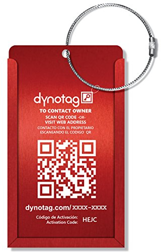 Dynotag Web Enabled Smart Aluminum Convertible Luggage ID Tag + Braided Steel Loop, with DynoIQ &...