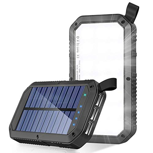Solar Charger, 8000mAh 3-Port USB and 21LED Light Solar Power Bank Portable Battery Cellphone...
