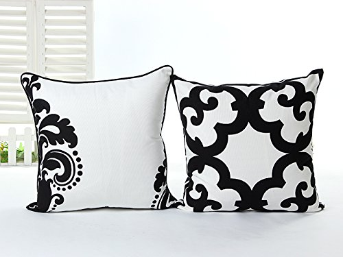 L&J.ART 2 PCS 18'' Black & White Abstract Cotton Canvas Pillow Case Cushion Covers 2HB2