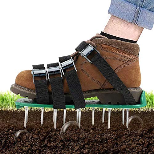 Lawn Aerator Shoes - Soil Aeration Shoes with 4 Adjustable Straps and One-Size-Fit-All & Easy Use...