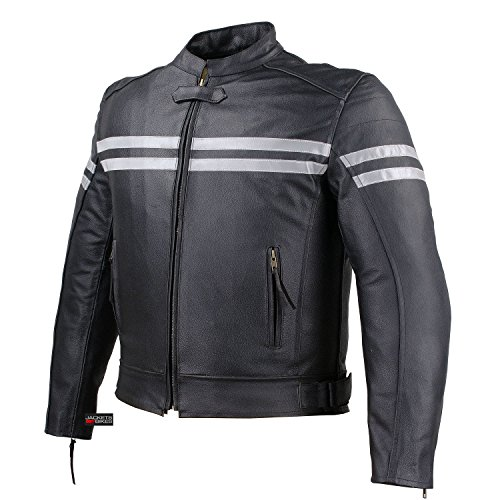Mens Track Biker Motorcycle Leather CE Armor Moto Riding Racer Black Jacket L
