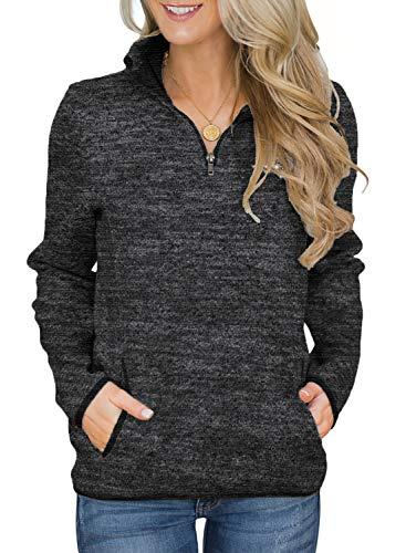 Aleumdr Women Knit Sweater Pullovers Casual Winter Long Sleeve 1/4 Zipper Sweatshirt with Pockets...
