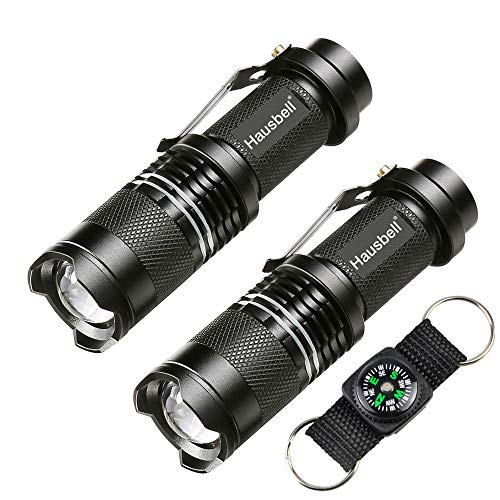HAUSBELL Flashlights, 7W Mini LED Flashlight, Handheld Flashlights, Zoomable, High Lumen, Water...