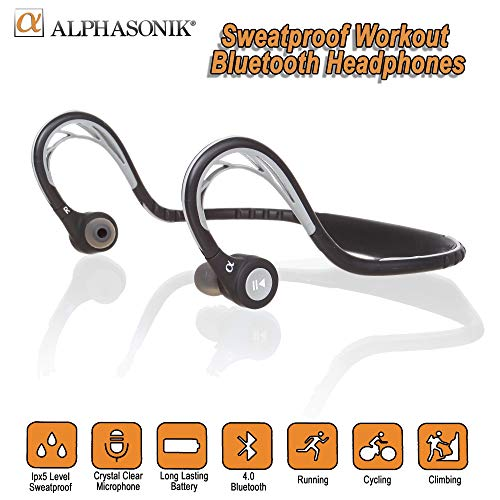 Alphasonik ASE300BT Bluetooth Headphones, V4.0 Wireless Sport Headphones, Sweatproof Running Headset...