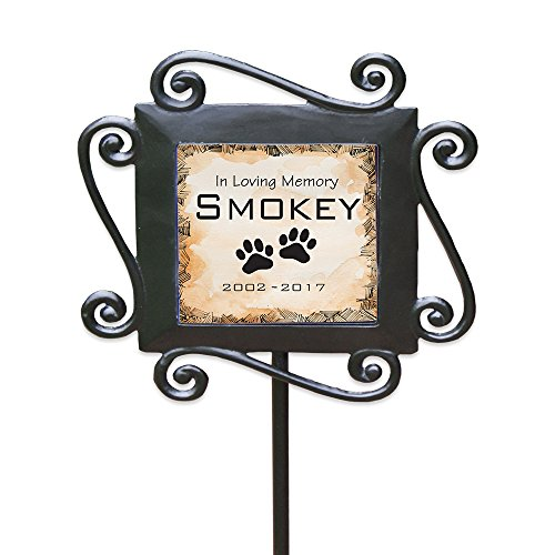 "GiftsForYouNow Personalized Pet Memorial Garden Stake, 28"" by 8.5"", Wrought Iron Stake with..."