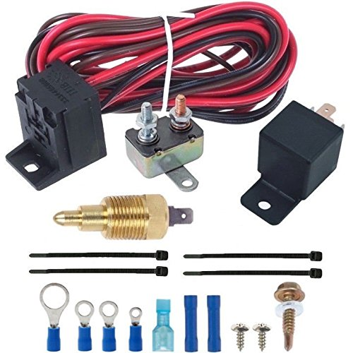 American Volt Electric Engine Fan Grounding Thread-in Thermostat Relay Controller Switch Kit (3/8'...