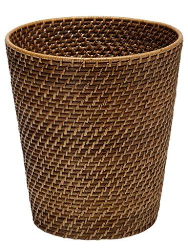 KOUBOO 1030011 Round Rattan Waste Basket, 10.25' x 10.25' x 11', Honey Brown