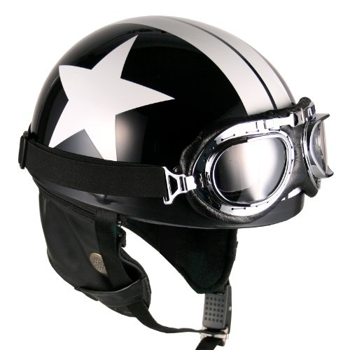 Goggles Vintage German Style Half Helmet (Black White-Star Large) Motorcycle Biker Cruiser Scooter...