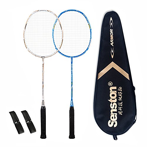 Senston 2 Full Graphite Badminton Racket Set Full Carbon Badminton Racquet(White+Blue) With Racket...