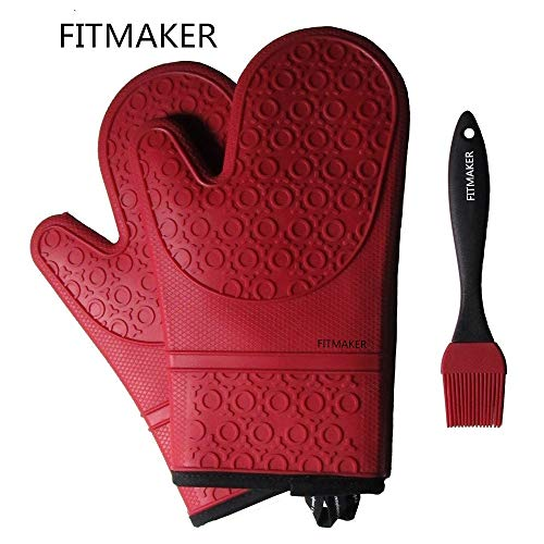 The Triumphant Chef Super Flex Silicone Oven Mitt and Baking Glove with Quilted Comfort Lining, 1...