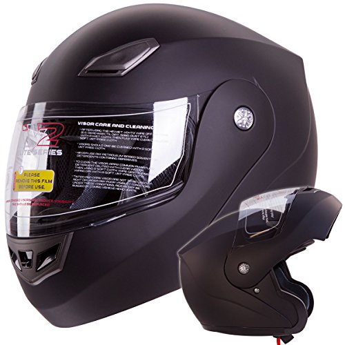 Modular Flip-up Motorcycle Helmet Matte Flat Black DOT #936 (Medium)