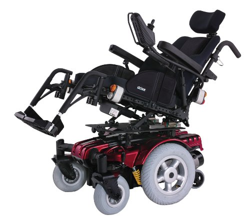 Drive Medical Sunfire Gladiator Very HD Power Wheelchair with Various Seating Options, Red, 45' x...