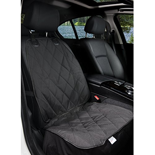BarksBar Pet Front Seat Cover for Cars - Black, Waterproof & Nonslip Backing with Anchors, Quilted,...