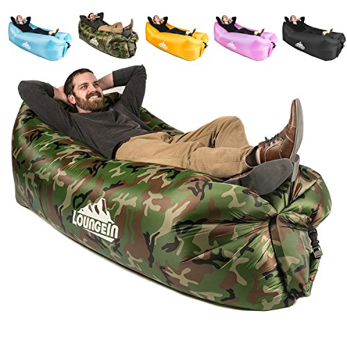 KyRush It Inflatable Lounger air couch chair sofa pouch | Lazy hammock blow up bag | Lounge outdoor...