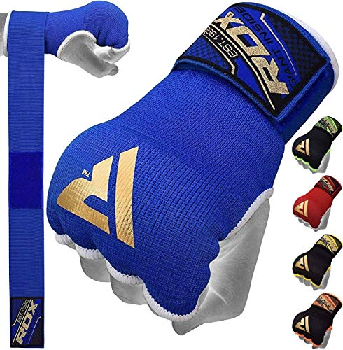 RDX Training Boxing Inner Gloves Hand Wraps MMA Fist Protector Bandages Mitts,Blue,Medium