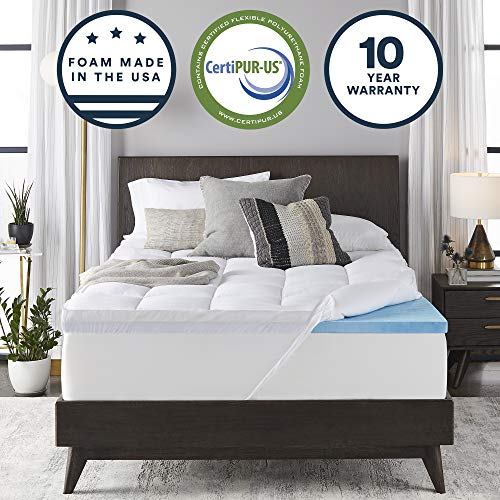 Sleep Innovations 4-inch Dual Layer Gel Memory Foam Mattress Topper with Enhanced Support, Queen,...