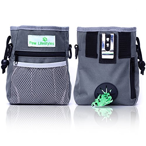 Paw Lifestyles  Dog Treat Training Pouch  Easily Carries Pet Toys, Kibble, Treats  Built-in Poop Bag...
