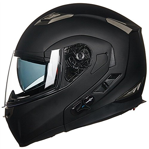 ILM Bluetooth Integrated Modular Flip up Full Face Motorcycle Helmet Sun Shield Mp3 Intercom (M,...