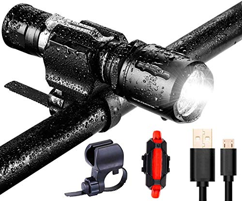 Uelfbaby 1000 Lumen Bike Light USB Rechargeable Stepless dimming Taillight Included Firm Mount Cycle...