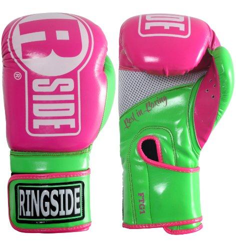 Ringside Apex Boxing Kickboxing Muay Thai Punching Bag Gloves, Pink/Lime, Large-X-Large