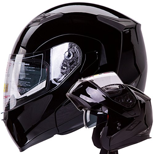 Dual Visor Modular Flip up Gloss Black Motorcycle Street Bike Cruiser Chopper Helmet DOT (SIZE:...