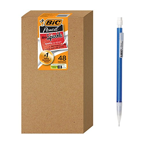 BIC Xtra Sparkle Mechanical Pencil, Colorful Barrel, Medium Point (0.7 mm), 48-Count