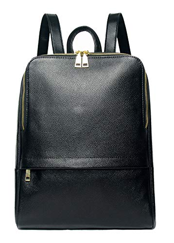 Coolcy Hot Style Women Real Genuine Leather Backpack Fashion Bag (Black)