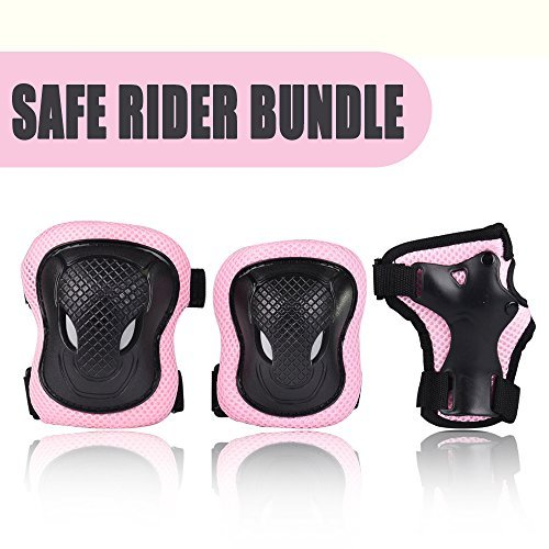 Kuxuan Girl's CIRA Pink Protective Gear Set Including Knee Pads Elbow Pads and Wrist Guards, for Kid...