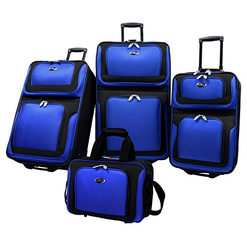 U.S. Traveler New Yorker Lightweight Softside Expandable Travel Rolling Luggage Set, Royal Blue,...