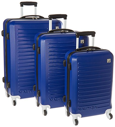 Nautica 3 Piece Hardside 4-Wheeled Luggage Set, Cobalt Blue