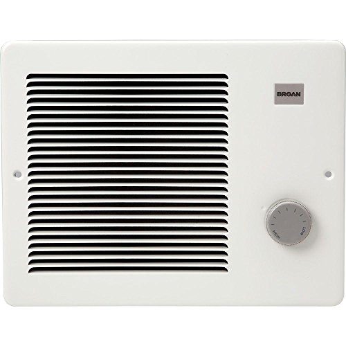 Broan Wall Heater, White Grille Heater with Built-In Adjustable Thermostat, 750/1500W, 120/240V AC
