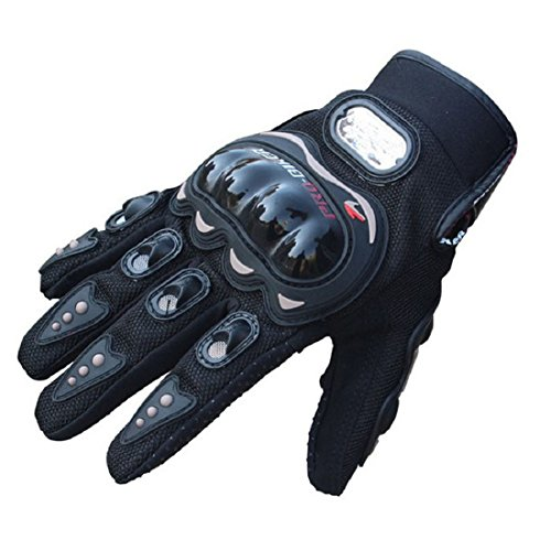 Towall Black Short Sports Leather Motorcycle Motorbike Summer Gloves (M)