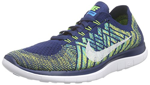 Nike Free 4.0 Flyknit Running Men's Shoes,Black/Hyper Orange-copa-blue Lagoon,11 D(M) US