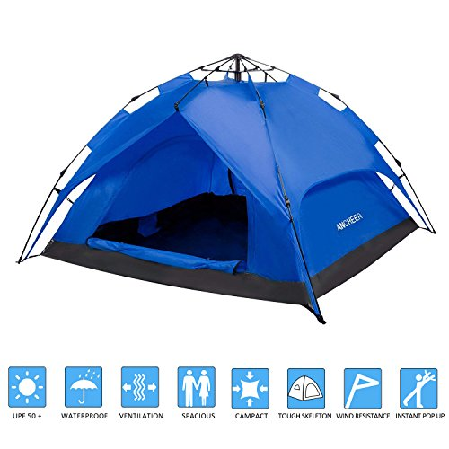 OUTCAMER YUEBO Instant Family Tent 2-3 Person Automatic Pop Up Tents Waterproof Backpacking Tent for...