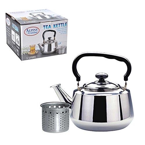 Aramco WLA020 Alpine Cuisine Tea Kettle & Strainer, 3 L, Stainless Steel