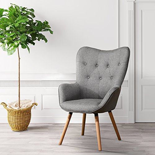 LSSBOUGHT Stylish Fabric Accent Chair Modern Muted Fabric Arm Chair,Gray