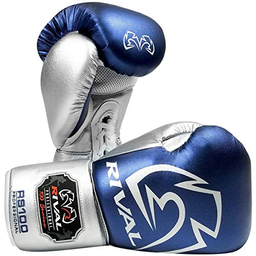 RIVAL Boxing RS100 Pro Sparring Boxing Gloves - 16 oz. - Blue/Silver