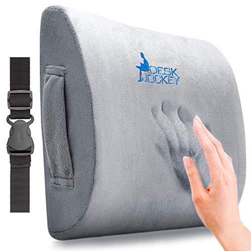 Desk Jockey Lower Back Pain Lumbar Pillow Support Cushion - Clinical Grade Memory Foam Orthopedic...