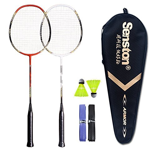 Senston 2 Player Badminton Racket Set Double Rackets - Including 1 Badminton Bag/2 Rackets/2...