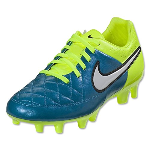 Nike Womens Tiempo Legacy FG Soccer Cleat (Blue Lagoon, Volt) Sz. 7.5