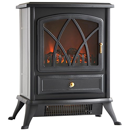 VonHaus Free Standing Electric Stove Heater Portable Home Fireplace with Log Burning Flame Effect...