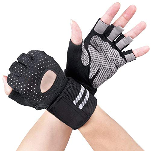 Breathable Ultralight Weight Lifting Sport Gloves, Gym Workout Exercise Gloves with Wrist Wrap...