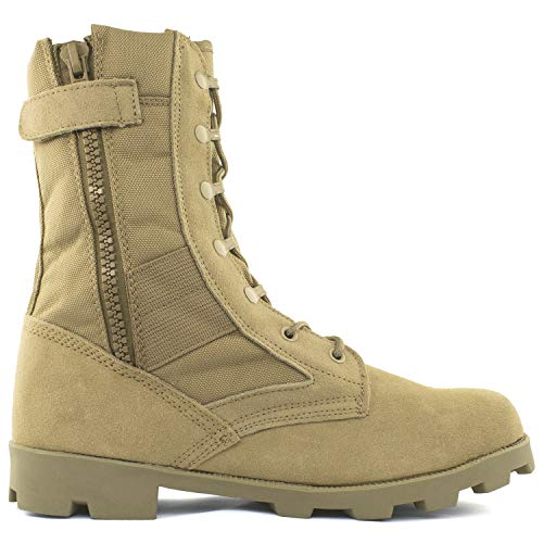 Men's 9 Inch Desert Tan Boots with Side Zipper for Work, Construction, Hiking, Hunting, Outdoors....