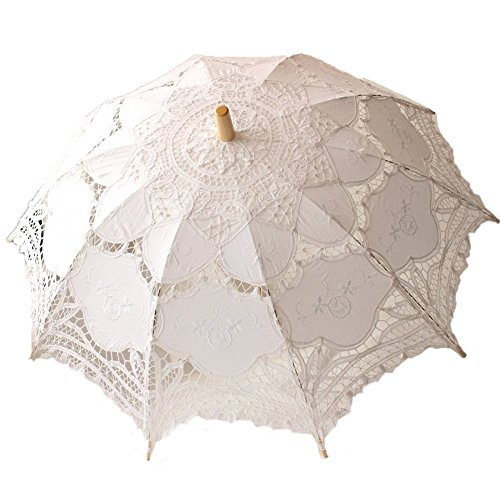 StarSide White Beige Parasol Wedding Lace Umbrella