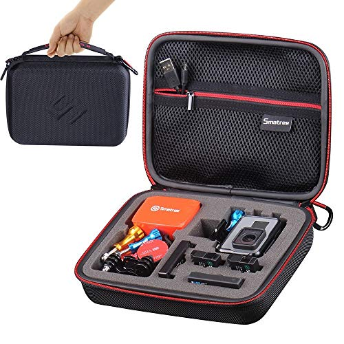 Smatree Carry Case Compatible with GoPro Hero 7/6/5/4/3/3/2/1,GOPRO Hero (2018)(Black&Red)