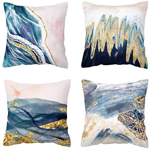 BLUETTEK Canvas Decorative Throw Pillow Case Leaves Design 18' X 18' (White)