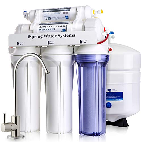 iSpring RCC7 High Capacity Under Sink 5-Stage Reverse Osmosis Drinking Water Filtration System and...